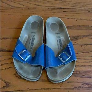 Birkenstock blue strap slip on buckle sandals 8